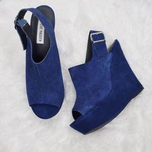 Steve Madden Blue WearMe Wedge Sandals 10